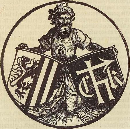 Albrecht Dürer: Druckersignet für Konrad Kachelofen, 1497; Holzschnitt. Aus: Michael Lochmair: Parochiale curatorum, Leipzig 1497. Herzog August Bibliothek Wolfenbüttel, Sign. 82-8-quod-2.