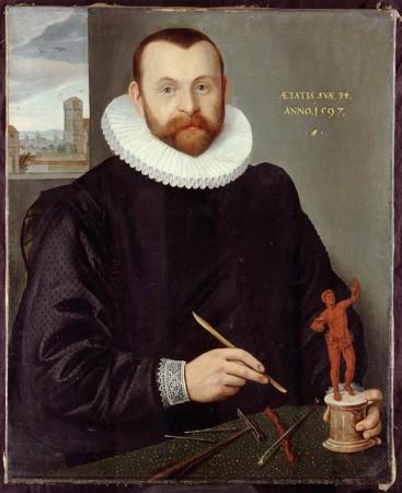 Bildnis des Goldschmieds Christoph Jamnitzer (1563-1618) im Alter von 34 Jahren, gemalt von Lorenz Strauch, 1597. Bildnachweis: Museen der Stadt Nürnberg, Kunstsammlungen