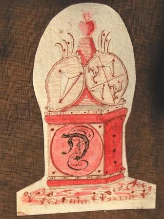 Barocke Skizze: Wappen der Geuder-Rabensteiner.