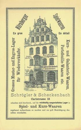 Werbeblatt der Spielwarenhandlung Schrögler & Schreckenbach, um 1890