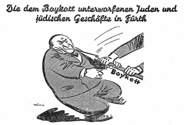 Mit dieser antisemitischen Karikatur rief die nationalsozialistisch gesteuerte Fürther Tagespresse am 31. März 1933 zum Boykott jüdischer Geschäfte, Handels- und Fabrikbetriebe auf. Auch die Firma Kohnstam stand auf der Boykottliste. Reproduktion aus: Fürther Anzeiger, Nr. 71, 31.3.1933