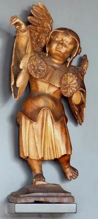 Hans Schwarz (zugeschrieben): Gerichtsdarstellung Engel, um 1520/1525, Holz. Dauerleihgabe des Germanischen Nationalmuseums seit 1974.