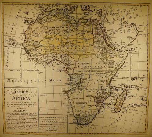 Afrika, 1795, gezeichnet von Franz Ludwig Güssefeld (Reproduktion).