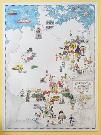 Die Landkarte der Spielzeughersteller im Spielzeugmuseum. Foto: Uwe Niklas