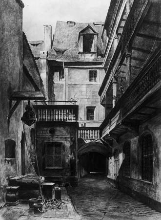 Lorenz Ritter: Blick über den Hof auf das Hinterhaus des Verlagsgebäudes, 1877.