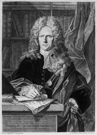 Johann Winter: Portrait Johann Baptist Homann, Kupferstich um 1724 (Reproduktion).